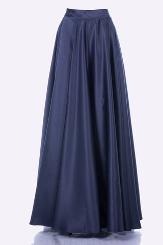 Poly USA SK10 - Long Navy Blue Satin Skirt Side Pockets