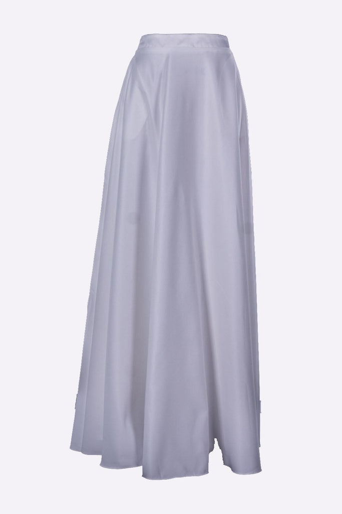 Poly USA SK10 - Long Off White Satin Skirt Side Pockets