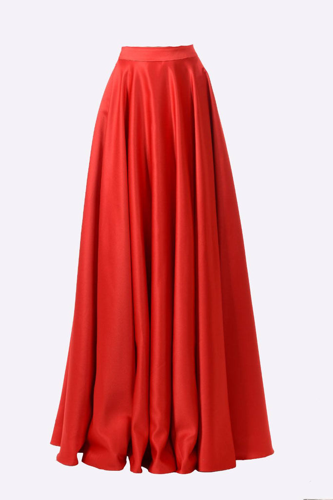 Poly USA SK10 - Long Red Satin Skirt Side Pockets