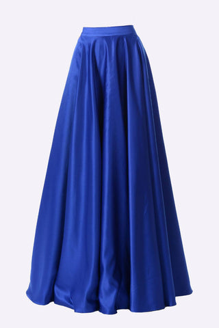 Poly USA SK10 - Long Royal Blue Satin Skirt Side Pockets