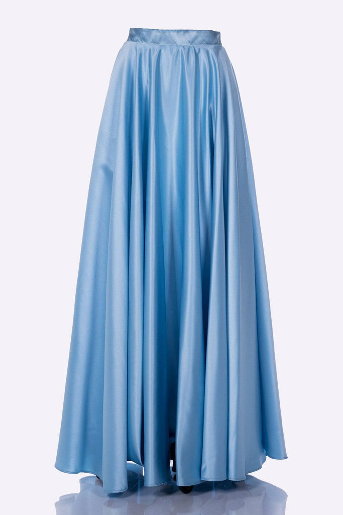 Poly USA SK10 - Long Turquoise Satin Skirt Side Pockets