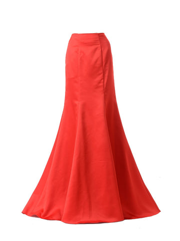 Poly USA SK18 - Red Mermaid Skirt Satin Ruffled Back