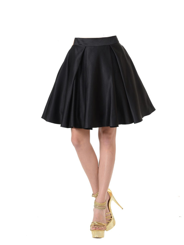 Poly USA SK22 - Black Short A Line Skirt With Pockets