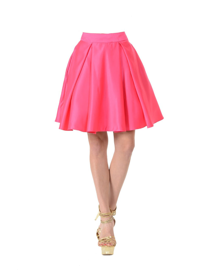 Poly USA SK22 - Hot Pink Short A Line Skirt With Pockets