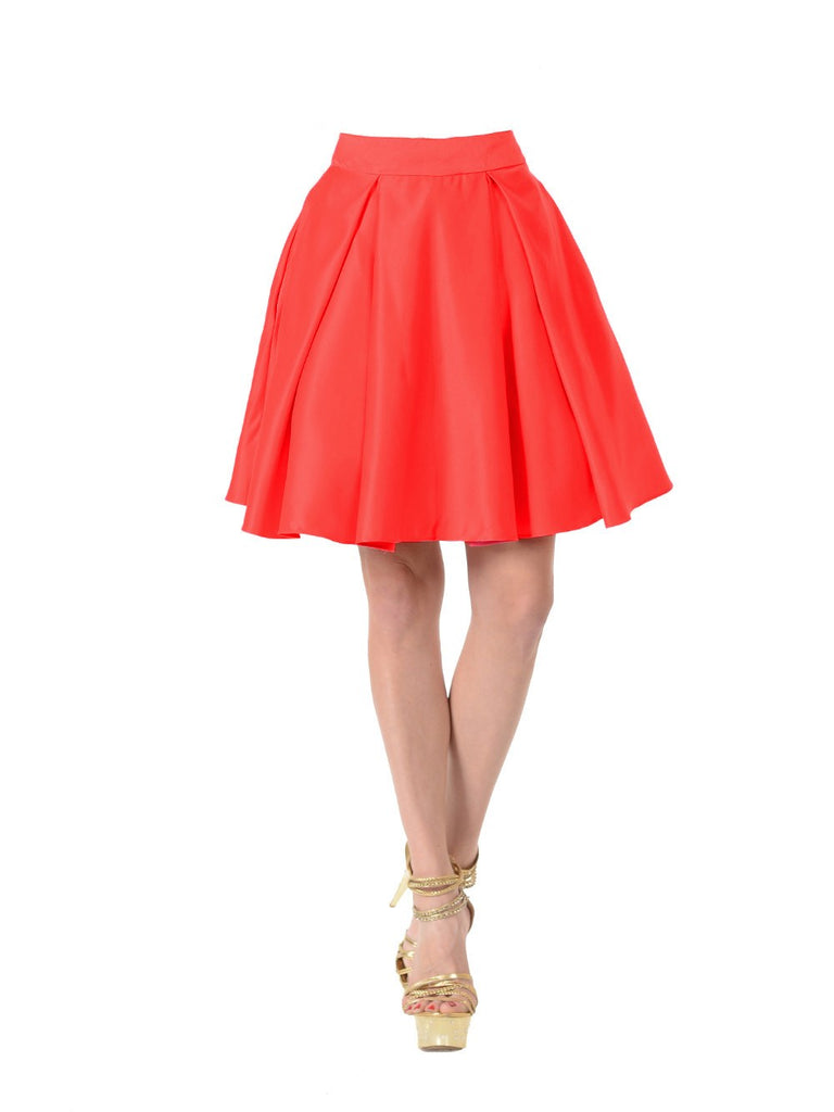 Poly USA SK22 - Red Short A Line Skirt With Pockets