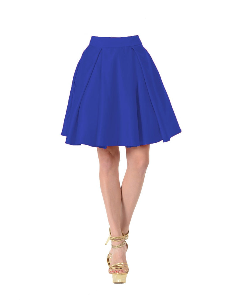 Poly USA SK22 - Royal Blue Short A Line Skirt With Pockets