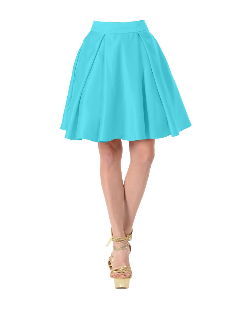 Poly USA SK22 - Turquoise Short A Line Skirt With Pockets