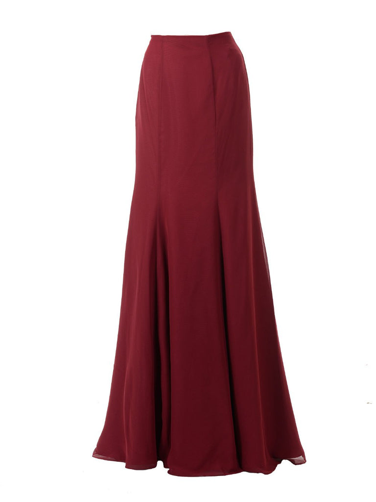 Poly SK24 - Full Length Chiffon Skirt Burgundy