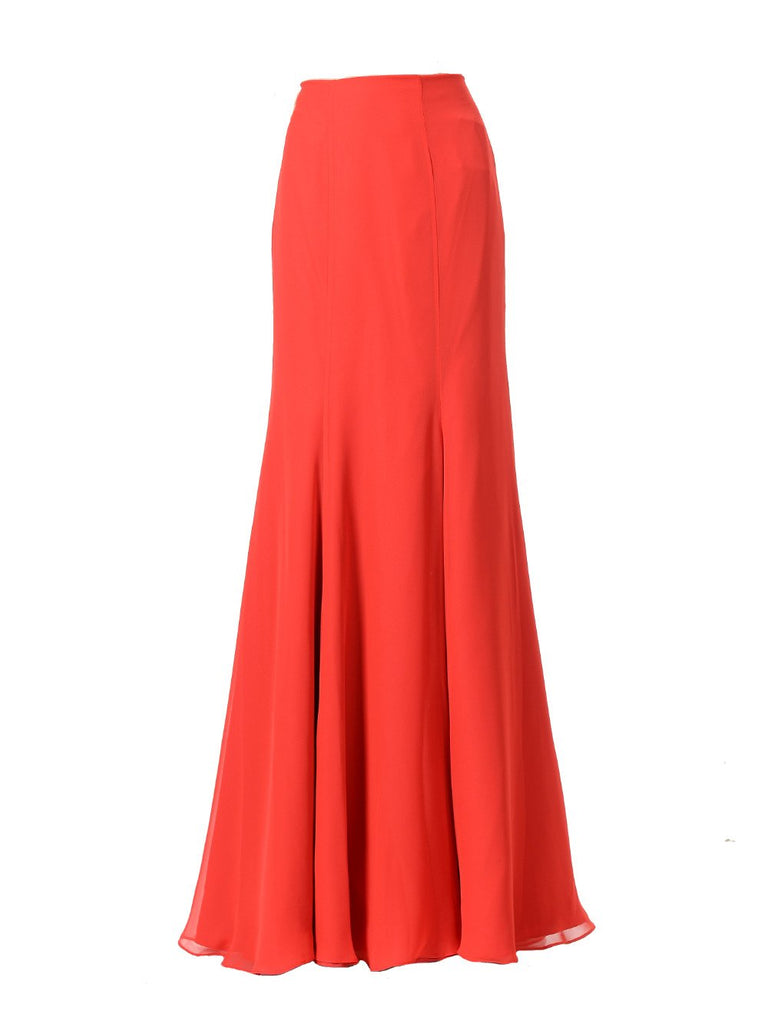 Poly SK24 - Full Length Chiffon Skirt Red