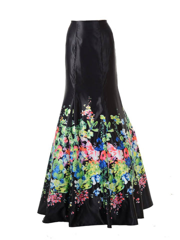 SK34 - Black Multi Color Flower Print Design Mermaid Skirt