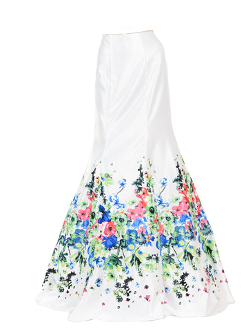 SK34 - Off White Multi Color Flower Print Design Mermaid Skirt