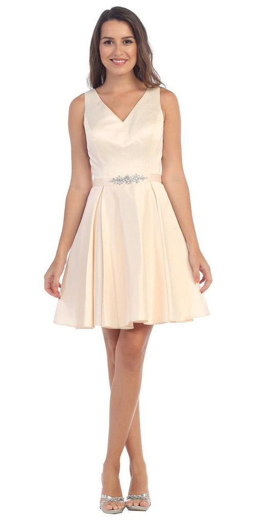Starbox USA 6148 V-Neck Satin A-line Dress Champagne Short Homecoming Sleeveless