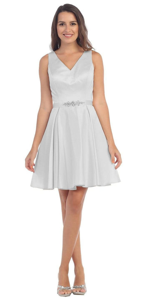 Starbox USA 6148 V-Neck Satin A-line Dress Silver Short Homecoming Sleeveless