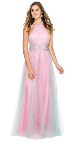 High Neck Halter Prom Ball Gown Pink Mint A Line Beaded Waist