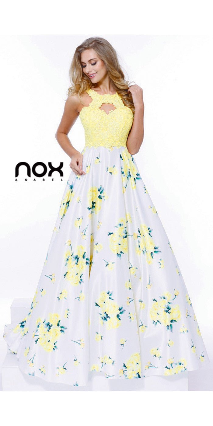 Long Evening Formal Gown Yellow Floral Print Keyhole Lace Bodice ...