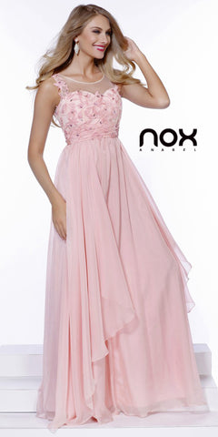 Long Layered Chiffon Prom Gown Bashful Pink Illusion Neck Embroidery