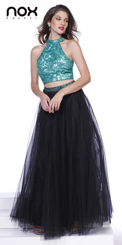 Shimmering Two Piece Black Green Prom Gown Tulle Skirt Sequin Top