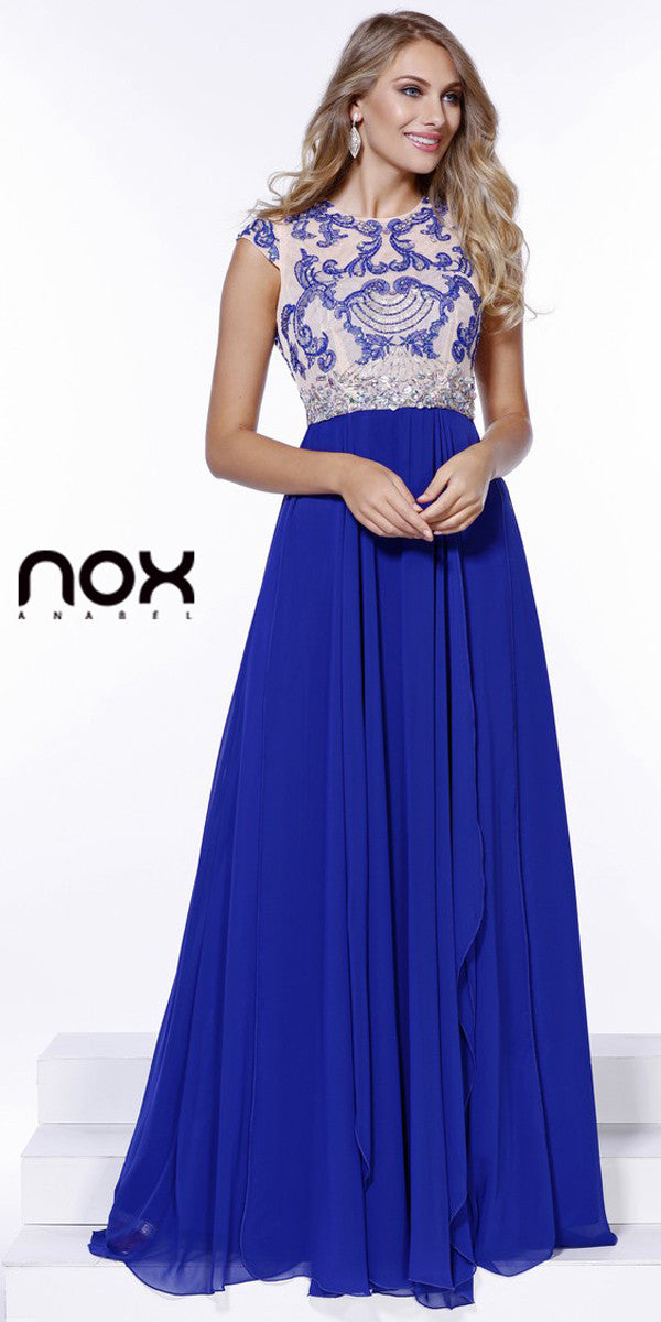 Gorgeous Chiffon A Line Prom Gown Royal Blue Cap Sleeves ...