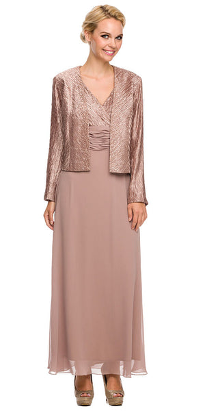 Plus Size Mother Groom Gown Blush Tan Long Jacket Chiffon