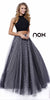 Black Polka Dot Skirt Two Piece Long Formal Dress Sleeveless