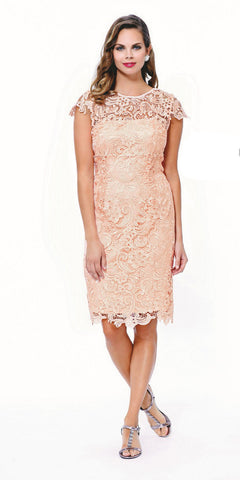 Short Vintage-Like Lace Dress Peach Cap Sleeves