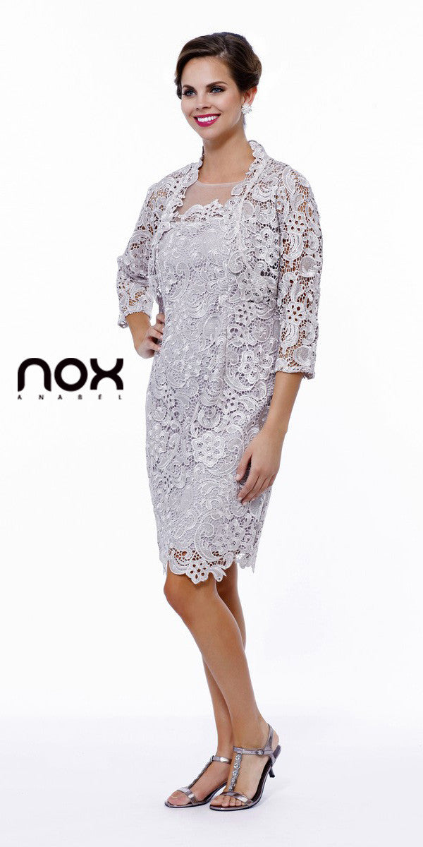 Knee Length Cruise Dress Lace Silver Includes Lace Jacket