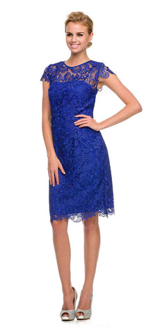 Short Vintage-Like Lace Dress Royal Blue Cap Sleeves