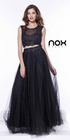 Long Two Piece Black Formal Prom Gown Lace Top Tulle Skirt