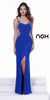 Sexy Floor Length Prom Gown Royal Blue Side Slit Open Back