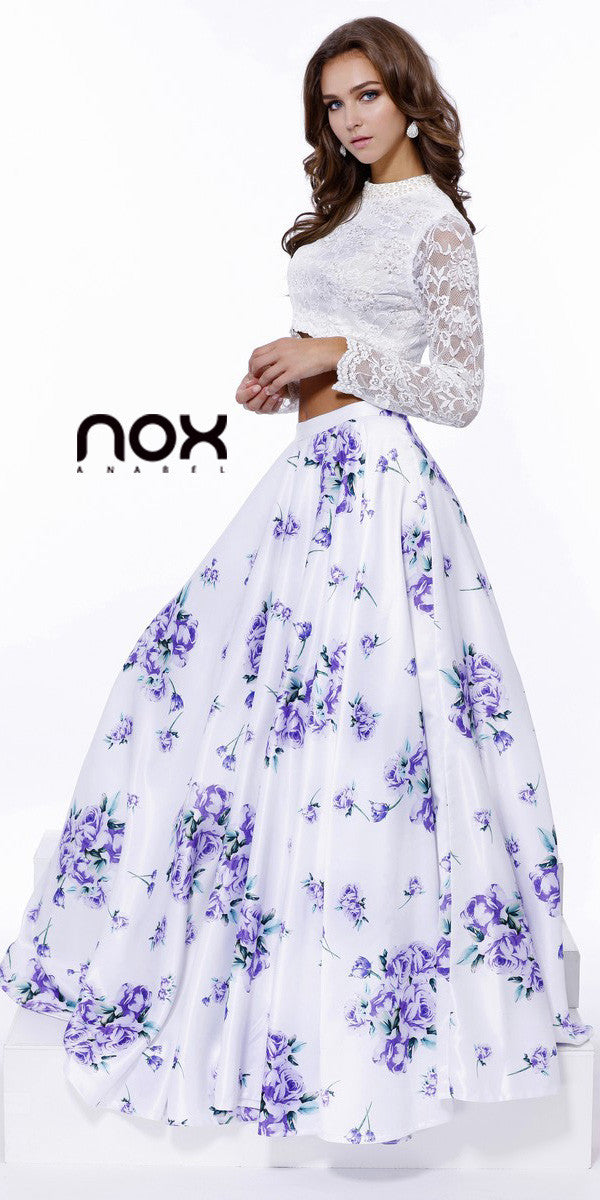 ab019226f88a Nox Anabel 8207 High Neck Two Piece Floor Length Print Dress Long ...