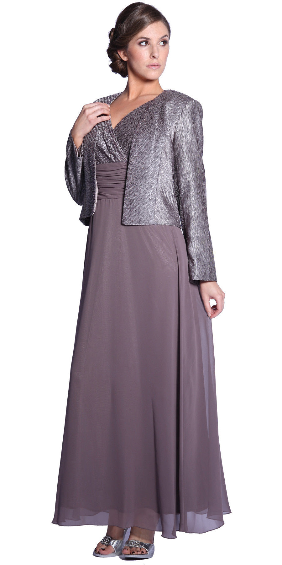 Plus Size Mother Groom Gown Mocha Long Jacket Chiffon