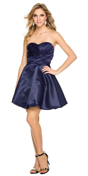 Short Satin Bubble Dress Navy Blue A Line Strapless Sweetheart