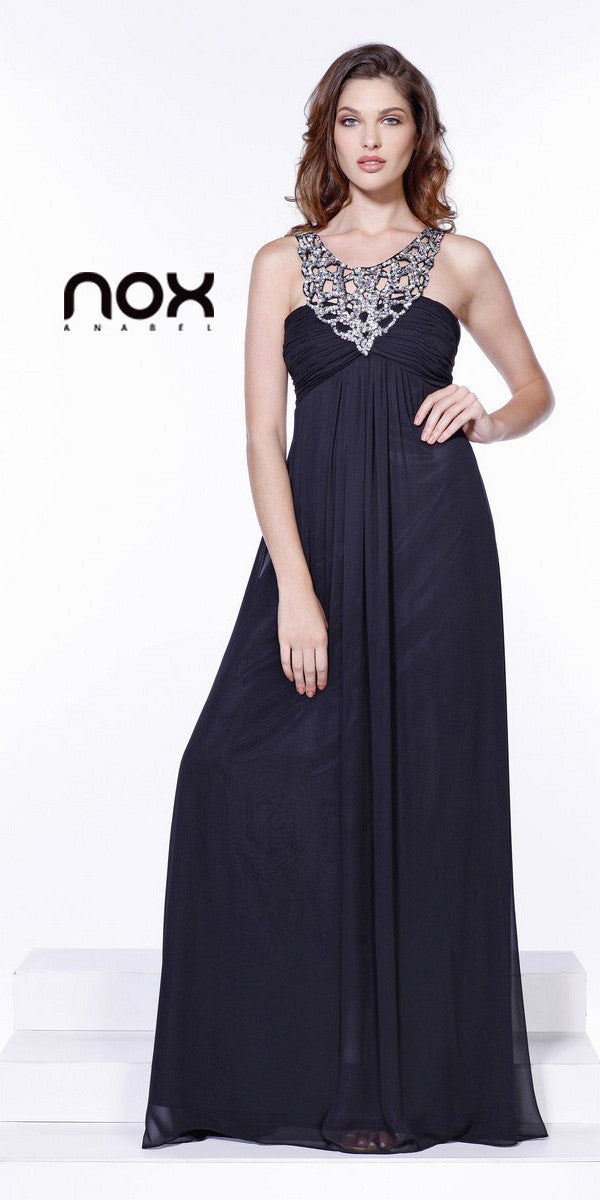 6887de28bed Sequin Neckline Greek Style Empire Black Chiffon Dress