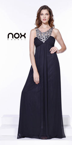 Sequin Neckline Greek Style Empire Black Chiffon Dress