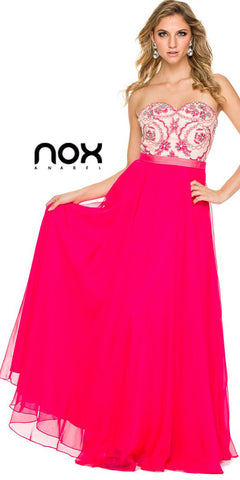 Winter Formal Gown Fuchsia Nude Multi Layer Chiffon Strapless