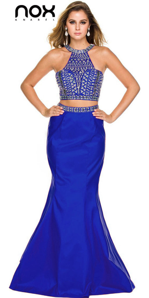 Floor Length Mermaid Prom Gown Royal Blue Taffeta Two Piece Jewels