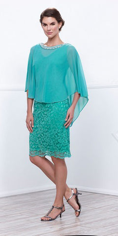 Short Plus Size Lace Cocktail Dress Sea Green Shrug Overlay