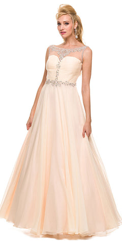 Formal A Line Prom Gown Nude Chiffon A Line Bateau Neck
