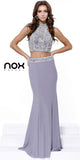 Two Piece Long Prom Dress Gray Beaded T-Back Halter