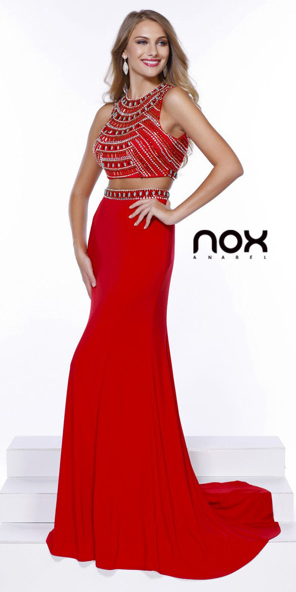 Red Carpet Two Piece Prom Dress Red Long Jersey – DiscountDressShop