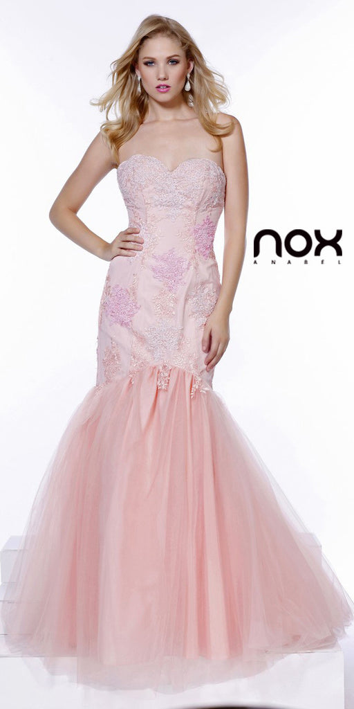 Formal Trumpet Gown Bashful Pink Lace/Embroidery Sweetheart