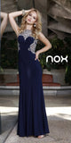 Sleeveless Floor Length Dress Navy Blue Jewel Embellished Sheer Neck