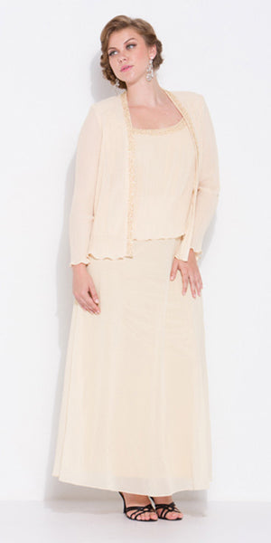 Plus Size Banana Gold Mother of Bride Gown Includes Chiffon Jacket