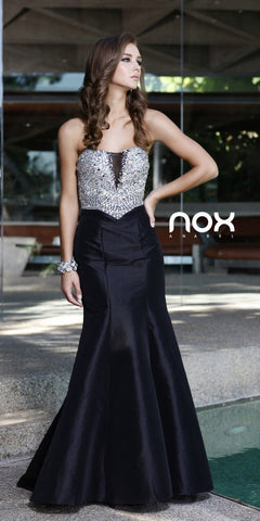 Long Open Back Strapless Mermaid Dress Black Jeweled Bodice