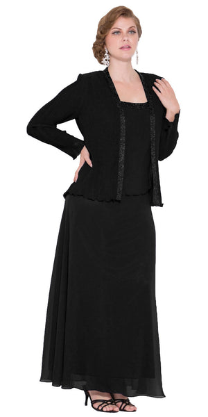Plus Size Black Mother of Bride Gown Includes Chiffon Jacket