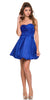 Short Satin Bubble Dress Royal Blue A Line Strapless Sweetheart