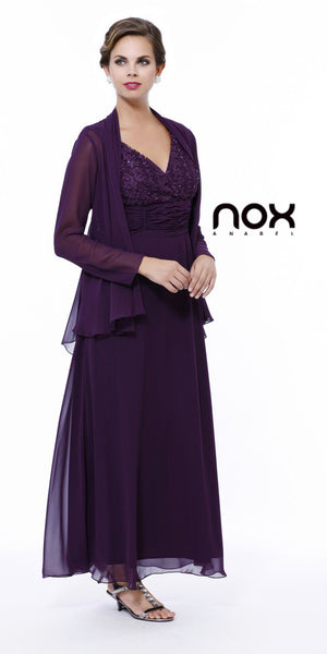 Lace Top Chiffon Skirt Mother of Groom Eggplant Dress Jacket
