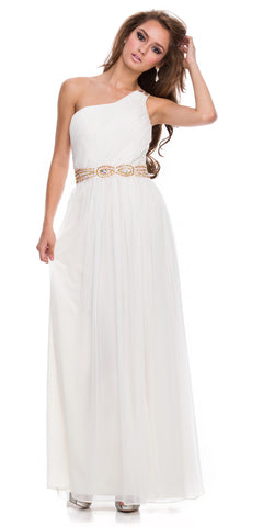 One Shoulder Ivory Prom Dress Chiffon Front Slit