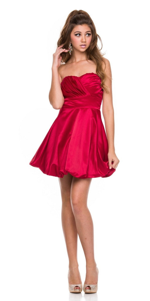 Short Satin Bubble Dress Red A Line Strapless Sweetheart