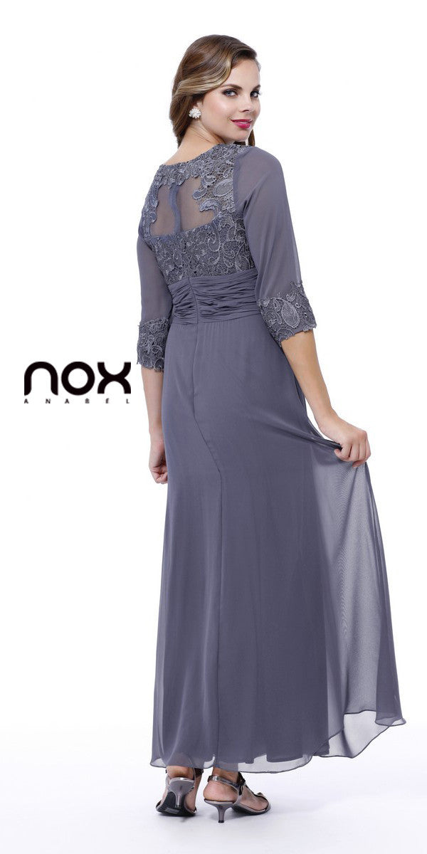 Ankle Length Mother of Bride Dress Steel Mid Sleeves Illusion Back